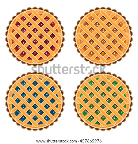 vector collection of homemade fruit and berry pies for christmas, thanksgiving and all kinds of holidays