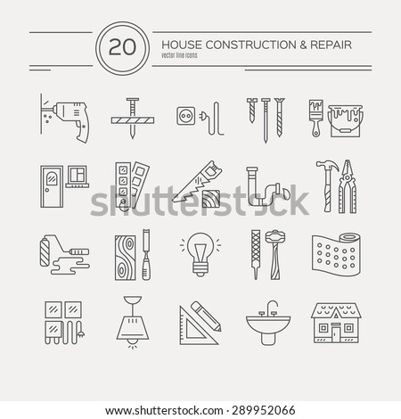 Vector collection of house repair icons, including electric, plumbing tools. Modern line style labels of house remodel gear and elements. Building, construction graphic design. Repair tools. - stock vector