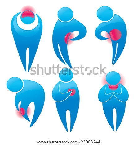 vector collection of human symbols with pain dots on their bodies - stock vector