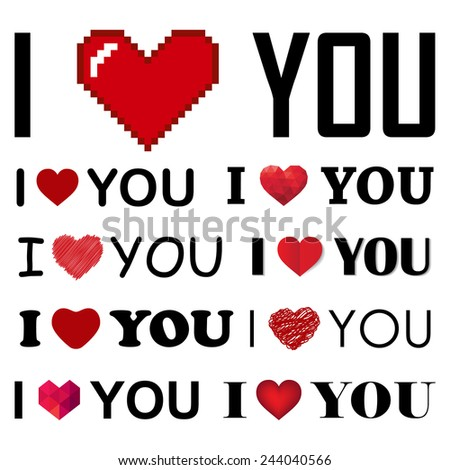 vector collection of I love you inscrIptions with hearts - stock vector