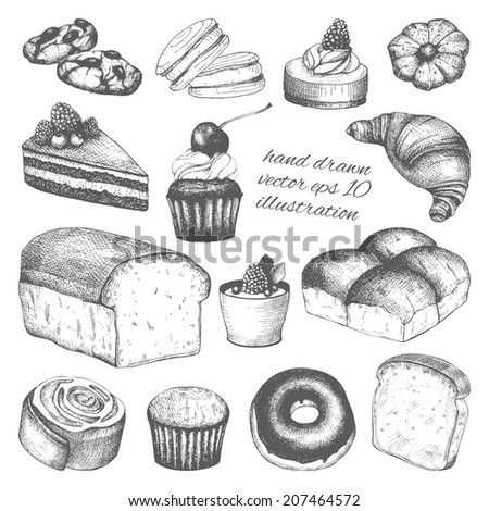 Vector collection of ink hand drawn breads and pastries illustration isolated on white background for restaurant or bakery menu.  - stock vector