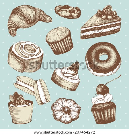 Vector collection of ink  hand drawn cakes and pastries illustration on mint spotted background. Vintage bakery illustration.  - stock vector