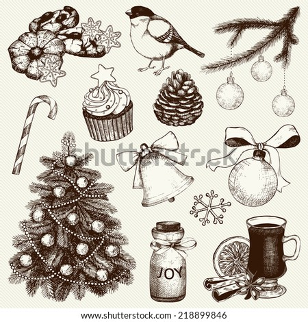 Vector collection of ink hand drawn Christmas and New year's elements and illustrations for holiday greeting card or invitation design. Christmas tree illustration - stock vector