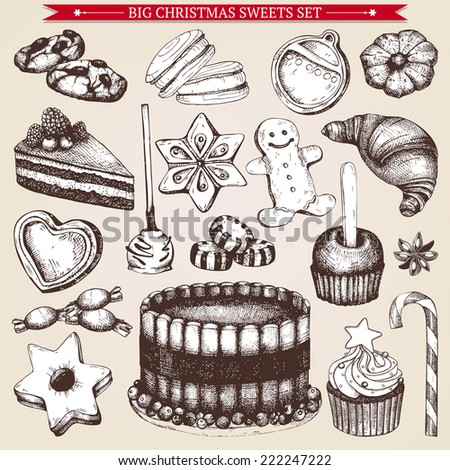 Vector collection of  ink hand drawn Christmas food and drinks  illustration for restaurant or bakery menu. Vintage bakery illustration. - stock vector