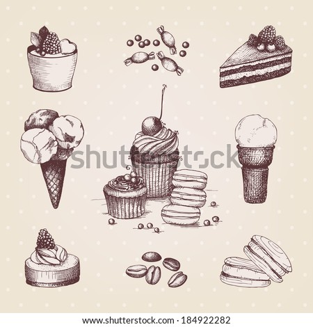 Vector collection of ink hand drawn dessert illustrations. Vintage cupcakes - stock vector