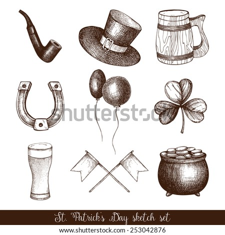 Vector collection of ink hand drawn illustrations for St. Patrick's day. Vintage set of St. Patrick's day sketch. - stock vector