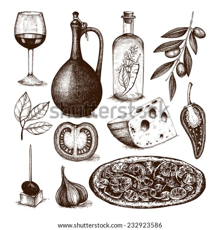 Vector collection of ink hand drawn tradition italian food illustration isolated on white. Vintage food sketch set - stock vector