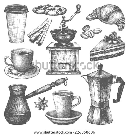 Vector collection of ink hand drawn vintage coffee illustration isolated on white background for restaurant or cafe menu. Vintage coffee, pastry and spice illustration - stock vector