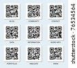 Vector collection of Internet related qr codes for your design. - stock photo