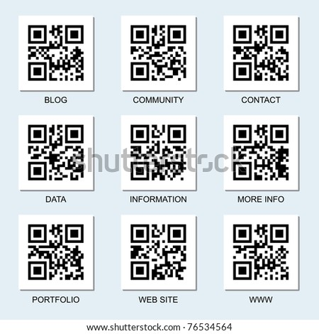Vector collection of Internet related qr codes for your design. - stock vector