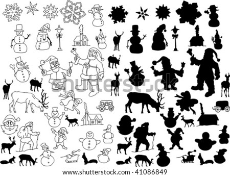 vector collection of isolated christmas silhouettes - check for more - stock vector