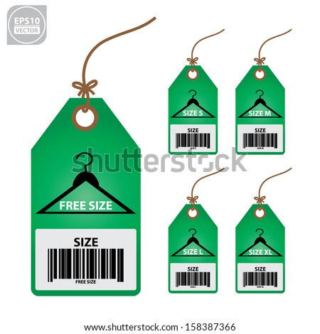 Vector: Collection of isolated clothing size green labels. - stock vector