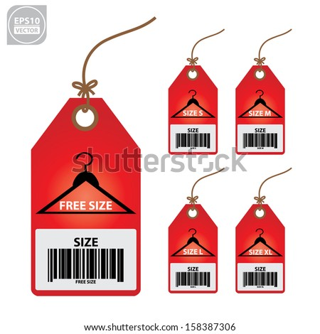 Vector: Collection of isolated clothing size red labels. - stock vector