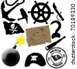vector collection of isolated elements for pirates life - stock photo