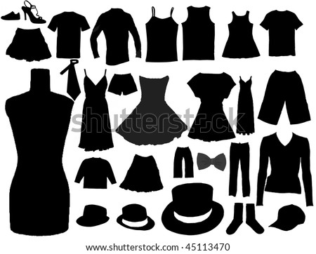 vector collection of isolated fashion clothes collection