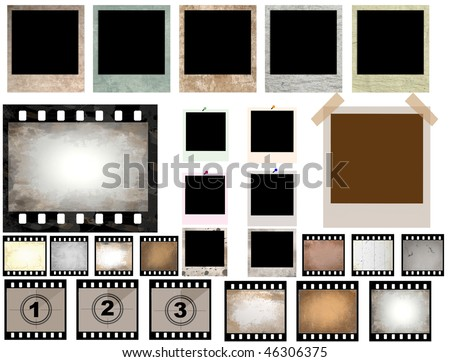 vector collection of isolated film strip and instant photo frames - check for more - stock vector