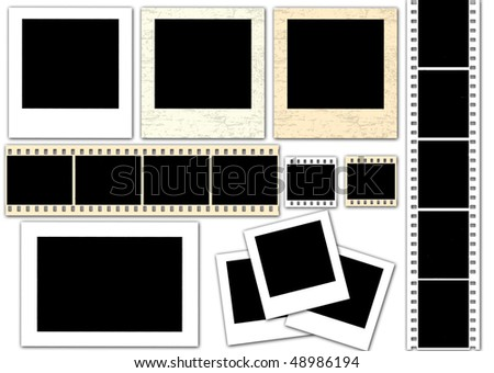 vector collection of isolated instant photo frames and film strips - more available - stock vector