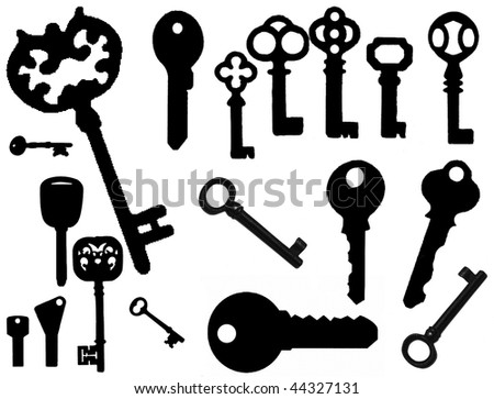 vector collection of isolated keys collection - stock vector