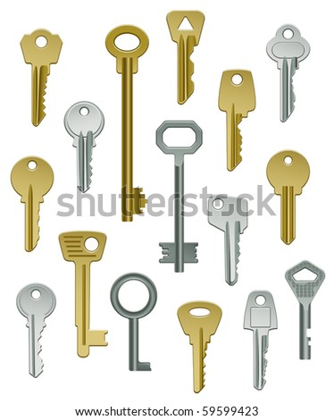 Vector Collection of Keys - Set One - stock vector
