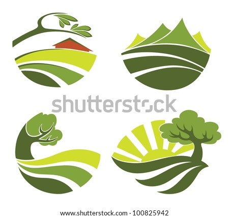vector collection of landscape symbols - stock vector