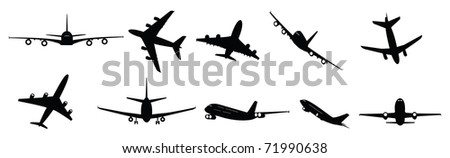 vector collection of large passenger jet aircraft - stock vector