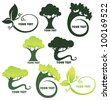vector collection of leaf and trees frames and forms - stock vector