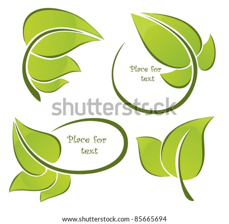vector collection of leaf frames - stock vector