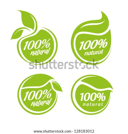 vector collection of leaf frames, natural icon, labels and stickers - stock vector