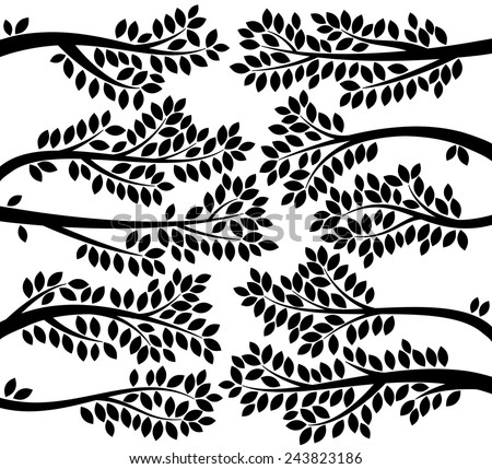 Vector Collection of Leafy Tree Branch Silhouettes - stock vector