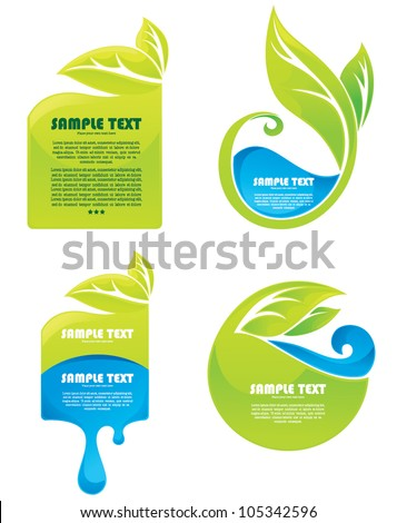 vector collection of leaves and water symbols and stickers - stock vector