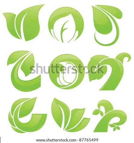 vector collection of leaves plants and nature elements - stock vector