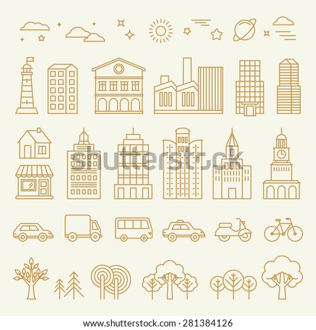 Vector collection of linear icons and illustrations with buildings, houses and architecture signs - design elements for city illustration or map - stock vector