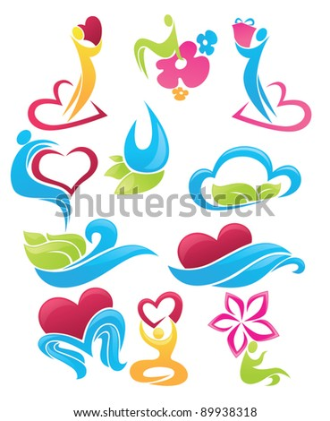 vector collection of love and nature concepts - stock vector