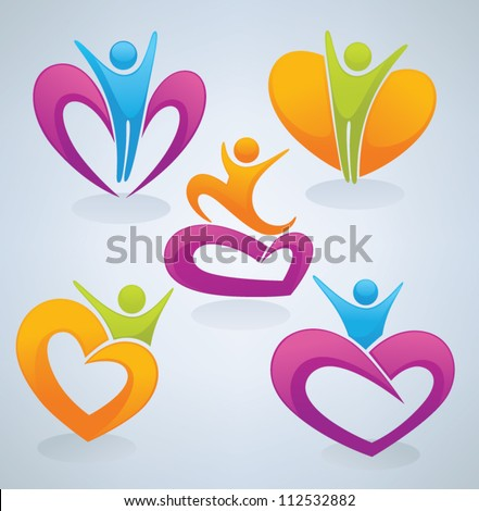 vector collection of love, men and hearts - stock vector