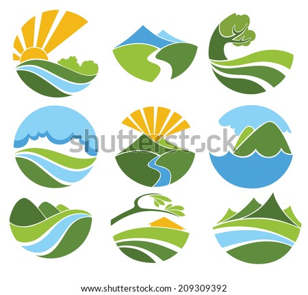 vector collection of lovely landscape and nature  symbols and icons - stock vector