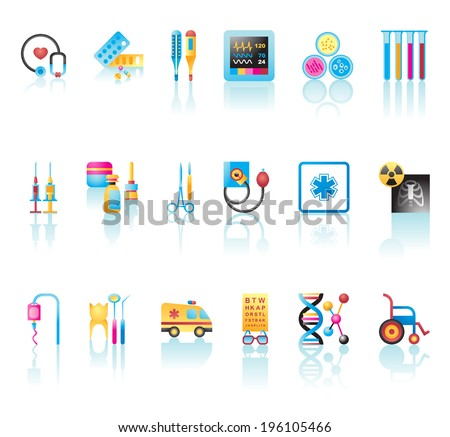 Vector collection of medical icons and symbols  - stock vector