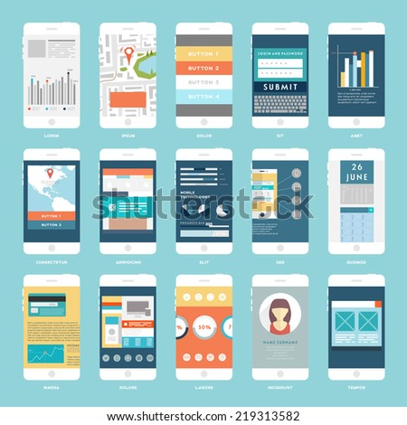 Vector Collection of Mobile Phones with User Interface Elements. Modern Flat Style Design Templates Set. - stock vector