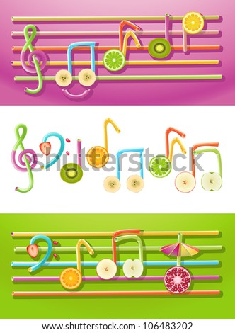 Vector collection of musical symbols made up of fruit slices and drinking straws - stock vector