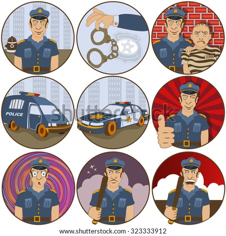Vector collection of nine different cartoon police stickers - face emotions. - stock vector