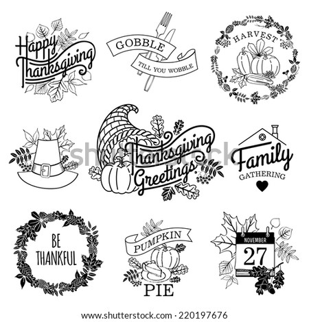 Vector collection of nine thanksgiving decoration elements | Happy thanksgiving lettering items | Thanksgiving scrapbooking elements with calendar, horn of plenty and autumn leaves - stock vector