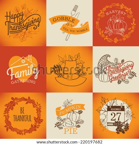 Vector collection of nine thanksgiving decoration elements | Happy thanksgiving lettering items | Thanksgiving printable items with calendar, horn of plenty and autumn leaves - stock vector