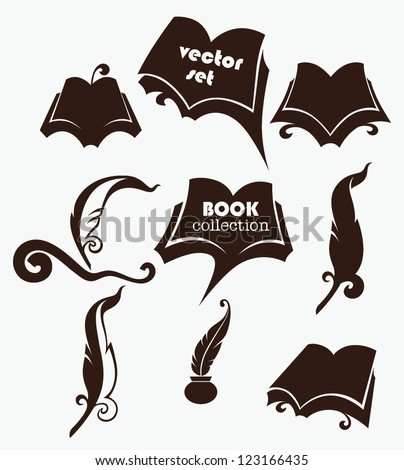 vector collection old books parchment poetry stock vector vector collection of old books parchment poetry literature and history symbols