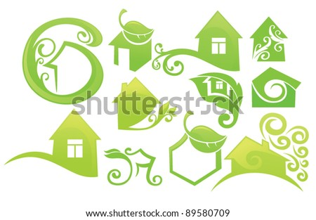 vector collection of ornamental decorative homes - stock vector
