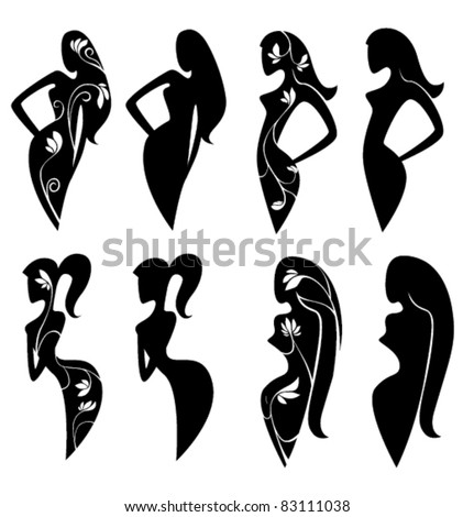 vector collection of ornamental girls silhouettes - stock vector