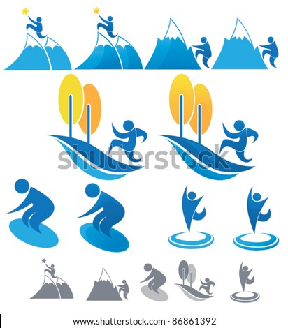 vector collection of outdoor sportive symbols - stock vector