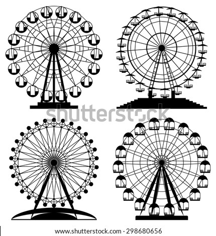 vector collection of park ferris wheels - stock vector