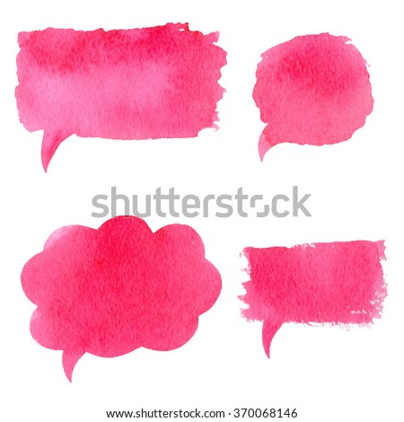Vector collection of pink watercolor speech bubbles, rectangles, shapes on white background. Hand drawn paint stains set.   - stock vector