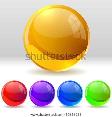 Vector collection of realistic glossy balls. EPS10 file. - stock vector