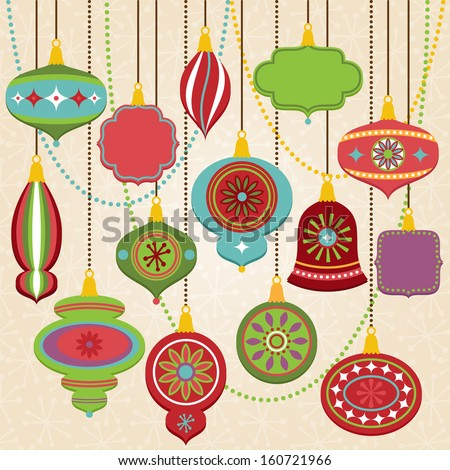 Vector Collection of Retro Christmas Ornaments - stock vector