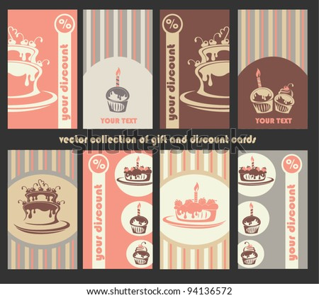 vector collection of retro gift and discount cards with images of cakes - stock vector